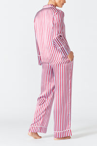 Evie Silk Pyjamas - Camargue Red and Blue Stripe