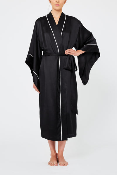 Endymion Black Silk Robe