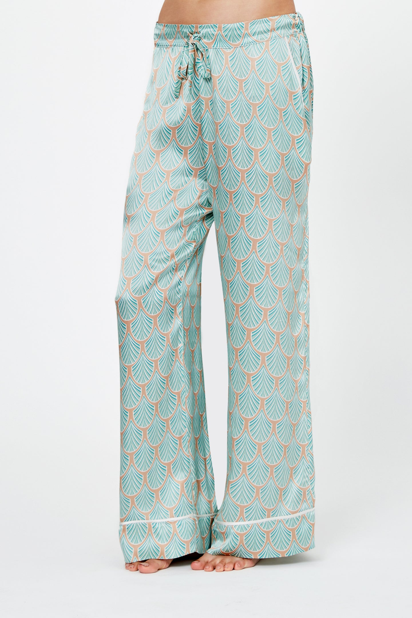 Artemis Feather Print Silk Pyjama Trousers