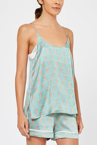 Maia Feather Print Silk Camisole