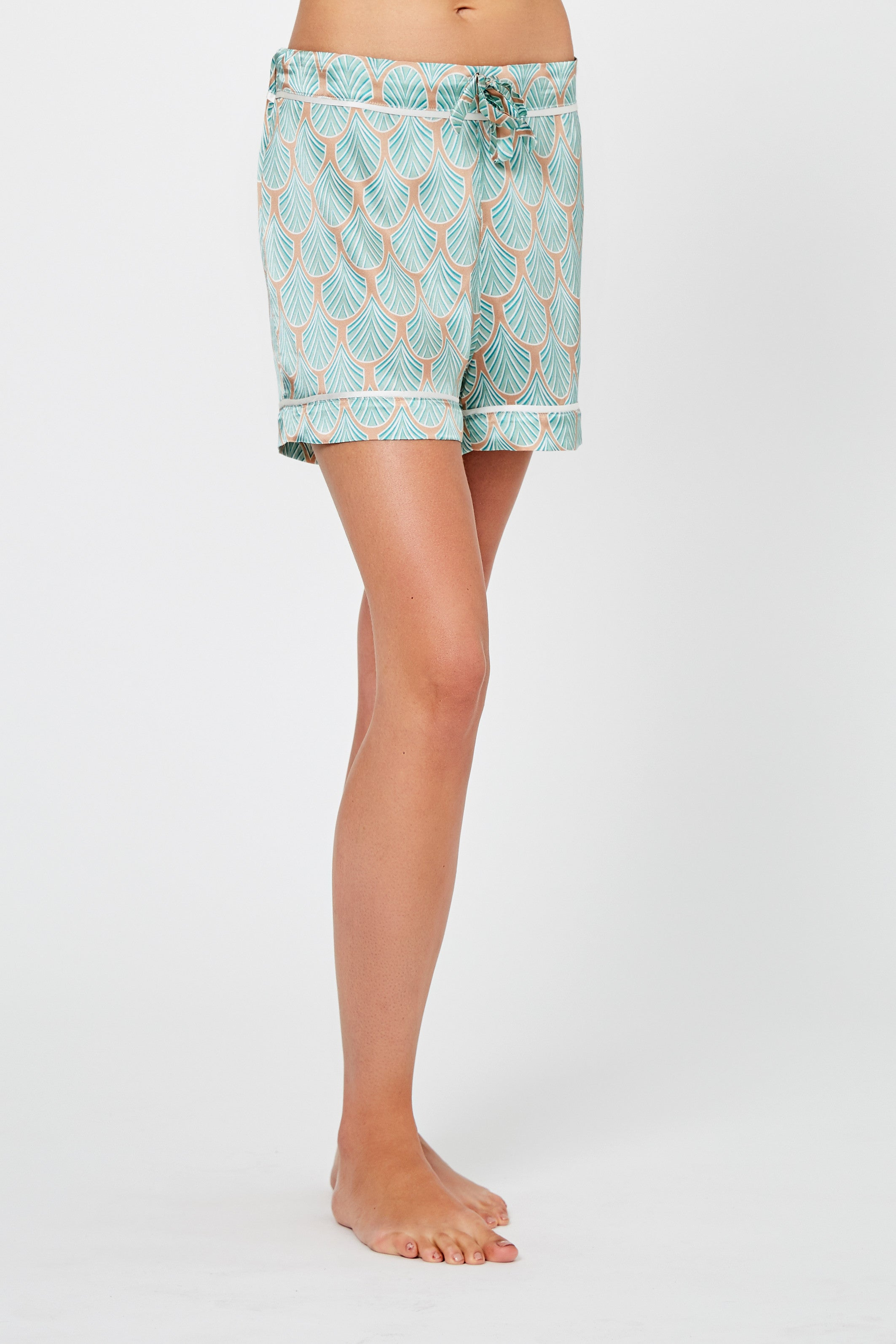 Phoebe Feather Print Silk Pyjama Shorts