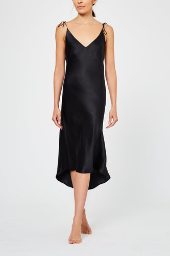 Aurora Black Silk Nightdress