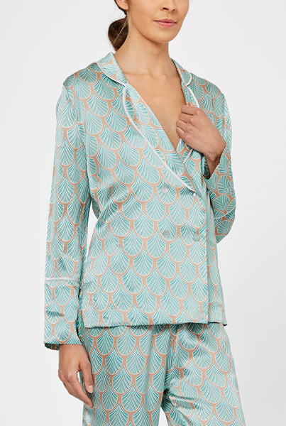 Asteria Feather Print Silk Pyjama Shirt