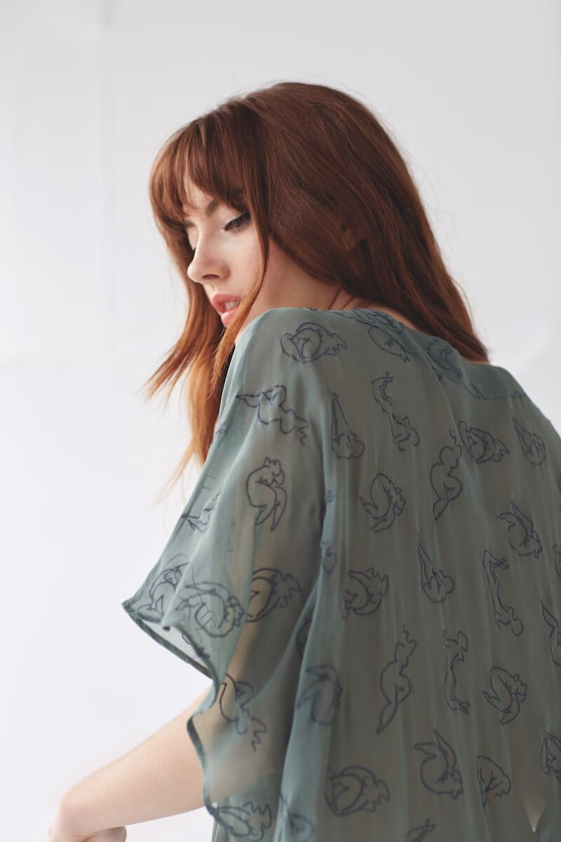 Isabel Green Silk Georgette Kaftan