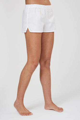 Juno White Cotton Shorts