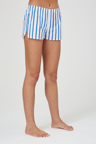 Juno Blue + White Stripe Cotton Shorts