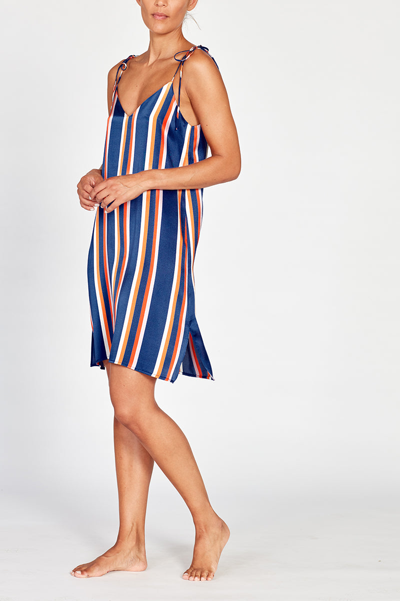 Lucia Silk Striped Nightdress
