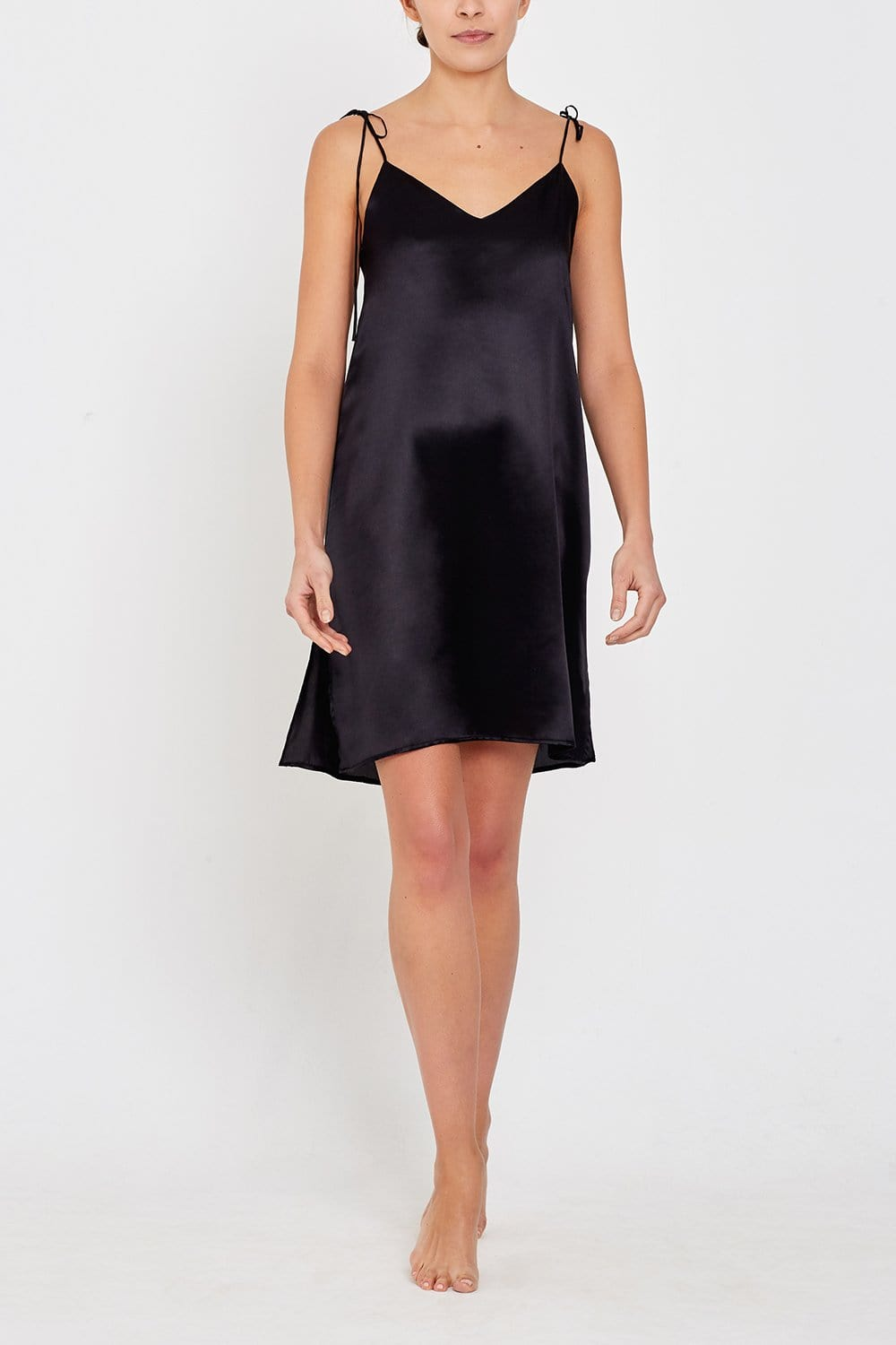 Lucia Short Black Silk Nightdress