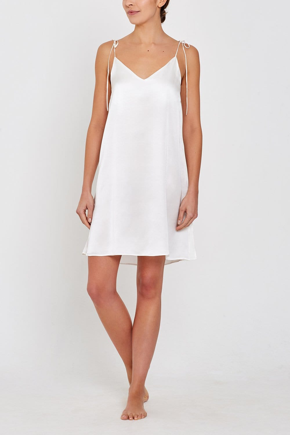 Lucia Short Silk Nightdress Ivory