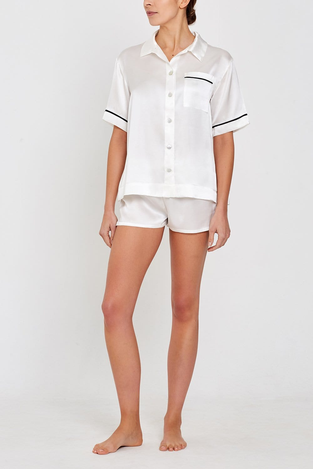 Lulu Short-sleeved Silk Sleep Shirt Ivory