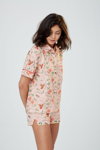 Lulu Short Sleeved Cotton PJ Shirt St Tropez Print