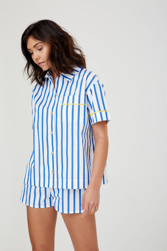 Lulu Short Sleeved Cotton PJ Shirt Blue + White Stripe