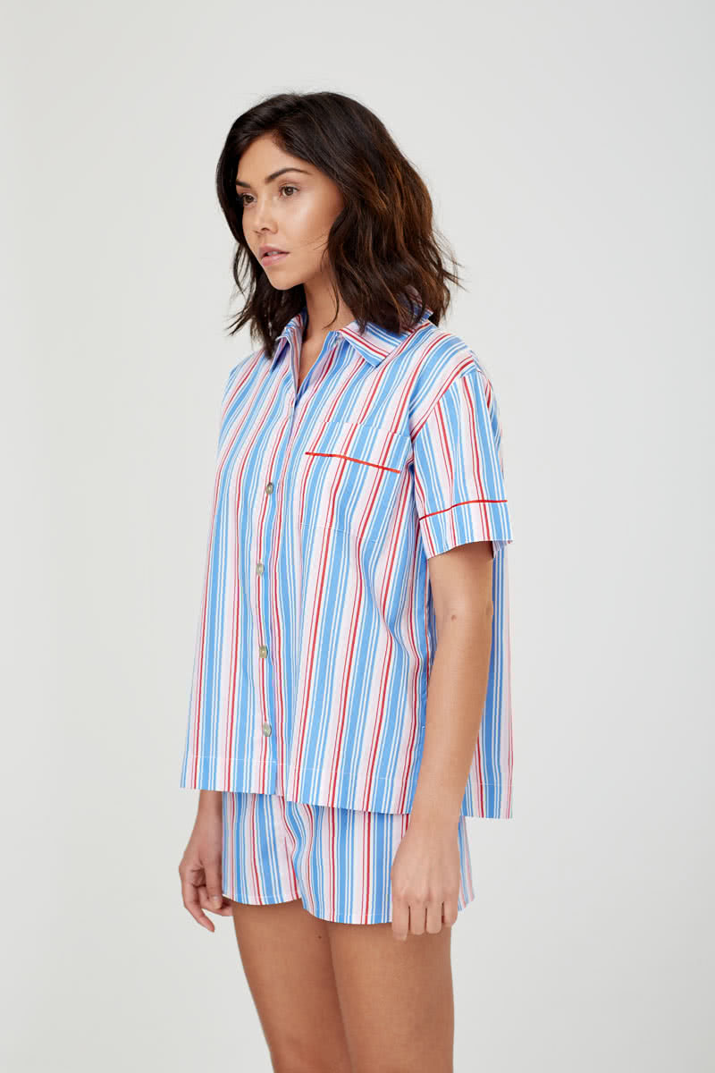 Lulu Short Sleeved Cotton Blue Multi Stripe PJ Shirt