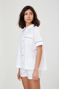 Lulu Short Sleeved Cotton PJ Shirt White Cotton