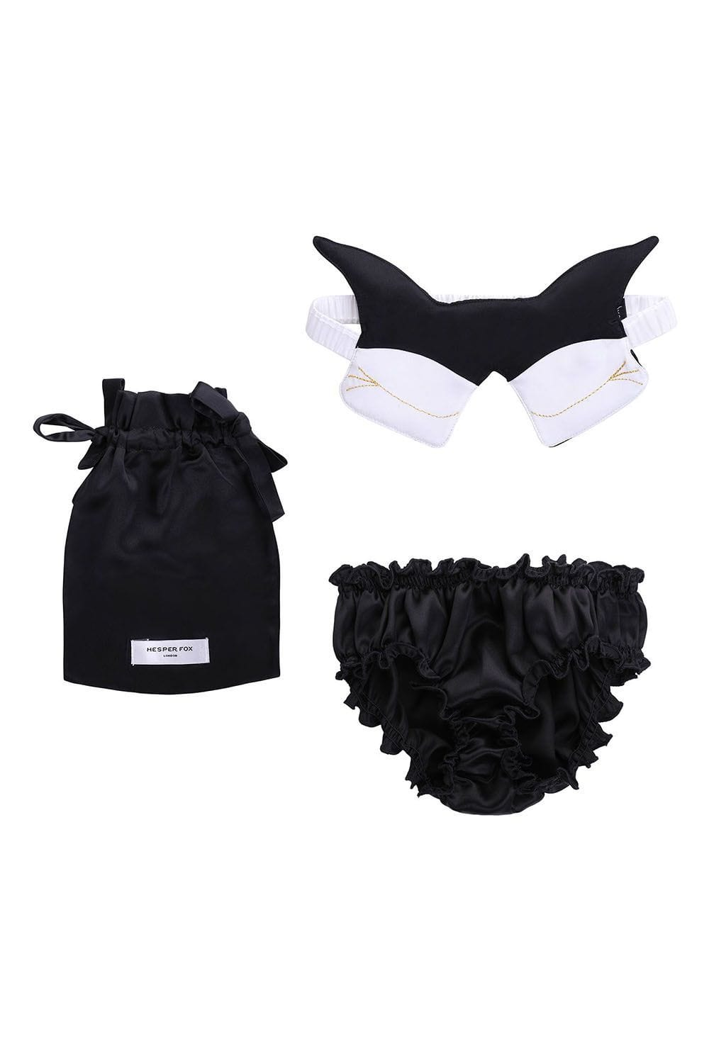 50880d5599 Lola Silk Knickers and Kitsune Silk Sleep Mask Gift Set - Monochrome ...