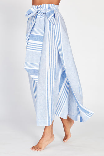 Ondine Blue and White Linen Wrap Maxi Skirt