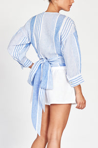 Odette Blue Stripe Linen Wrap Top