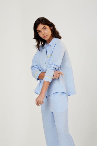 Pepper Blue Linen Pyjama Shirt