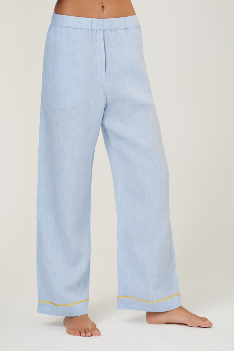 Pax Blue Linen Pyjama Trousers