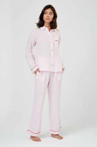 Pepper Pink Linen Pyjama Shirt