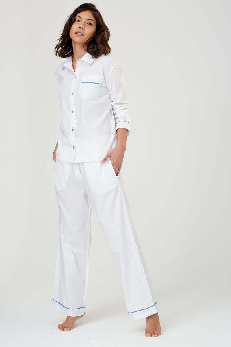 Pepper White Cotton Pyjama Shirt
