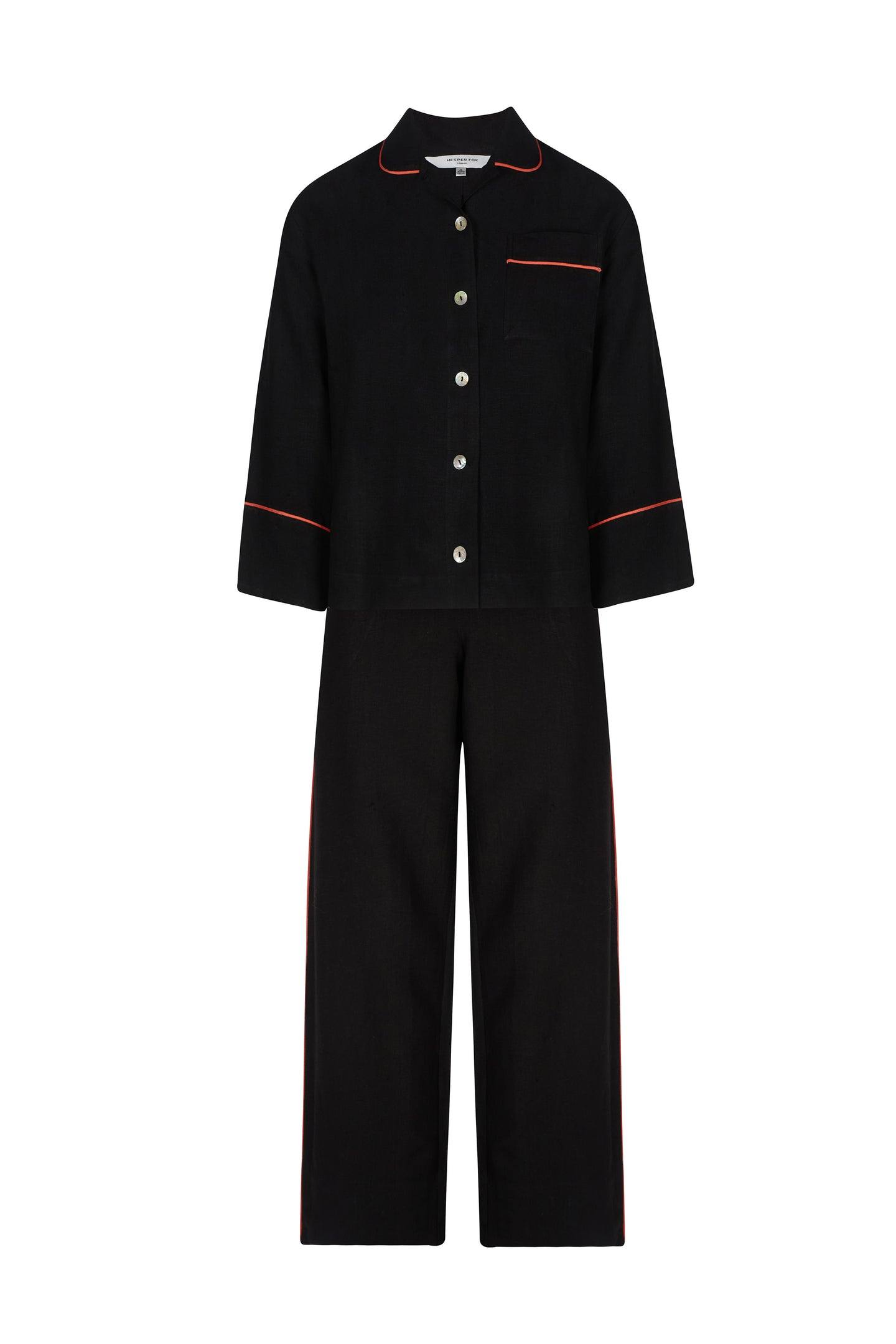 Aubrey Black Linen Pyjama Set with Coral Piping