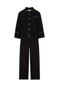 Aubrey Black Linen Pyjamas with Green Piping