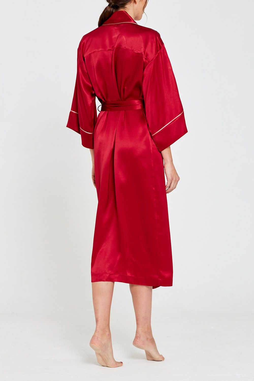 Paloma Silk Full Length Robe Garnet Back