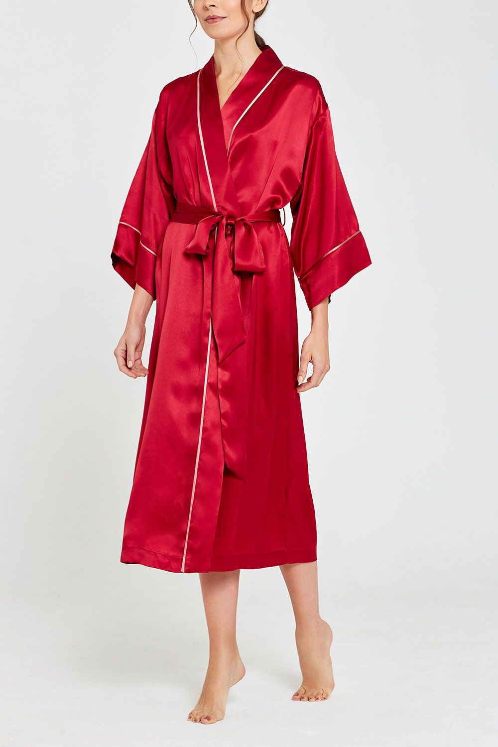 Paloma Silk Full Length Robe Garnet Front