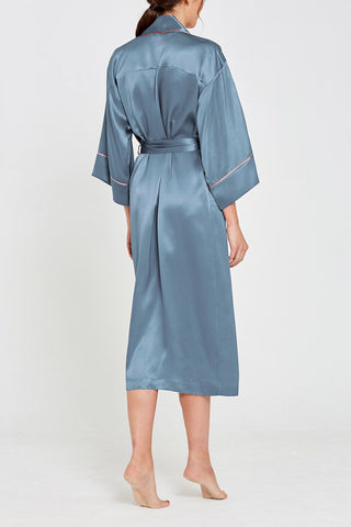 Paloma Teal Silk Full Length Robe
