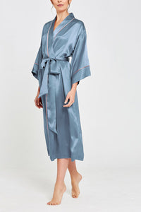 Paloma Silk Full Length Robe Teal Front
