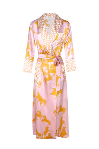 Ainsley Long Silk Robe - Camargue Pink Horse Print