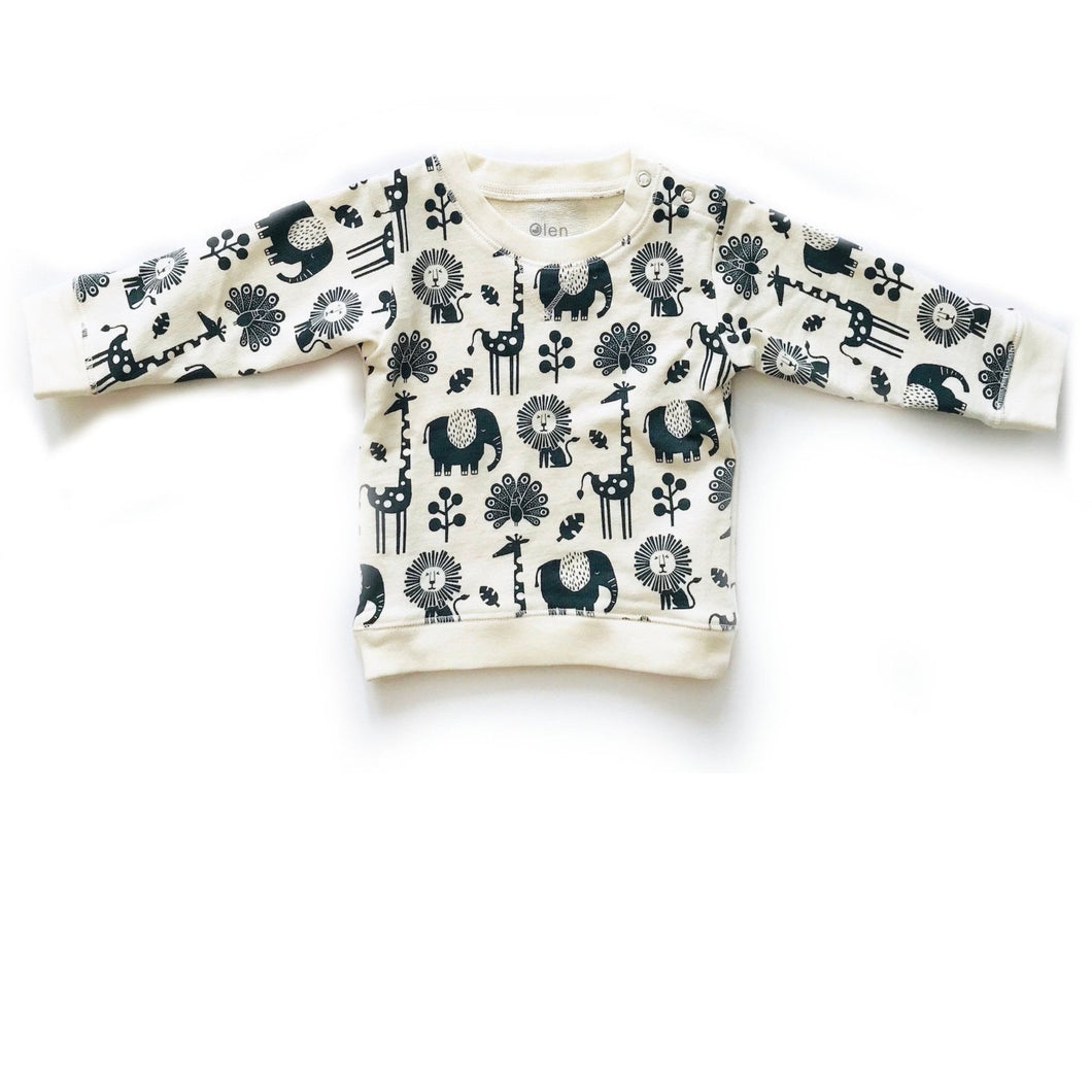 Organic cotton animal printed sweatshirt for toddlers. Organic baby clothes made sustainably and ethically.