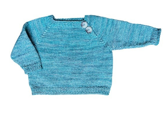 Hand knitted blue sweater for infants 6 months. Second hand baby clothes.