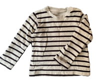 Olen Preloved Organic Cotton Striped Long-sleeve Tee Shirt, 3-6 months