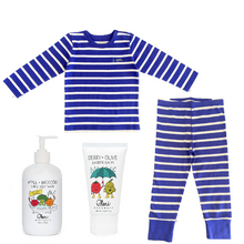 Blue Striped pajama shirt and pants. Made out of organic cotton. Come with natural lotion and body wash for your baby's sensitive needs.