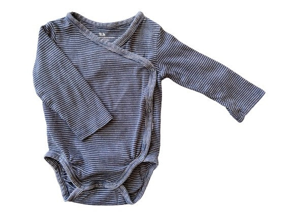 Olen Preloved Organic Cotton Indigo Striped Onesie, 6-9 months