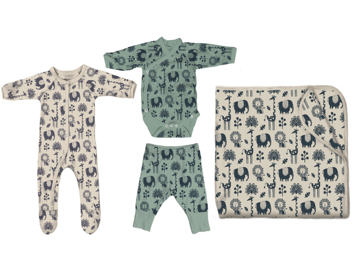 Hello Baby Better Bundle in Piha Print, Natural and Green Tea
