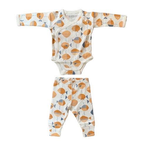 Kimono style bodysuit for toddlers. Made from organic cotton and manufactured sustainably.