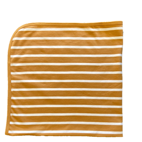 Brown and white striped baby blanket. Blanket made from organic cotton, organic pima cotton. Perfect for toddlers or infants. Soft and organic, perfect for your child's sensitive needs. Mindfully made in Peru.