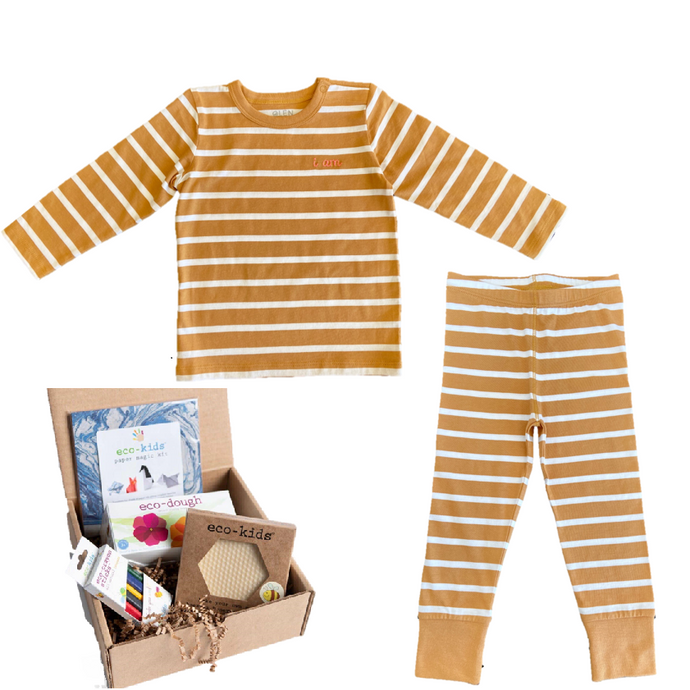 Brown and white striped PJ's. Pajamas for toddlers and babies made from organic cotton. This bundle + Eco Kids Busy Box toy combination will ensure that your child's cozy and entertained.