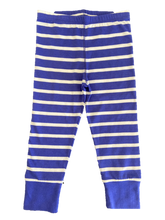 Striped Blue pajama pants made out of organic cotton. Organic cotton baby clothes for infants and toddlers.