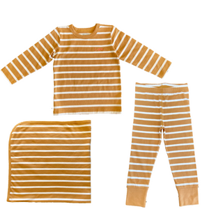 Brown and white striped PJ's and blanket. Pajamas and blanket for toddlers and babies made from organic cotton.