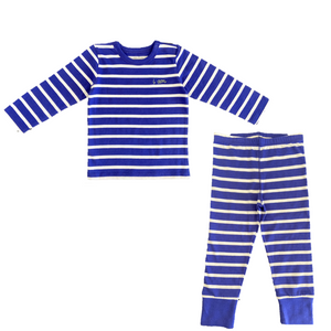 Blue Striped pajama shirt and pants. Made out of organic cotton. Baby clothes perfect for a toddler or infant.
