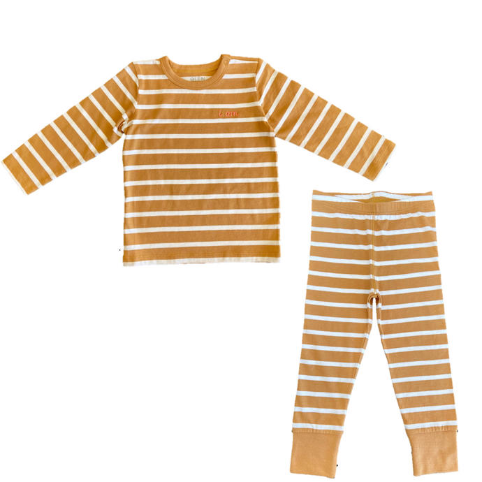 Brown and white striped PJ's. Pajamas for toddlers and babies made from organic cotton.
