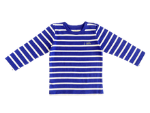 Blue Striped long-sleeved shirt made out of organic cotton. Olen's organic cotton baby clothes are safe and soft.