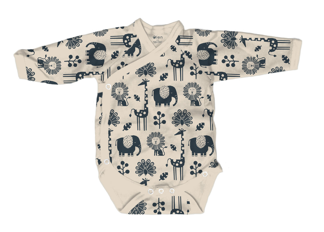 Baby Burrito Bodysuit in Piha Print, Natural