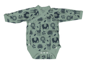 Baby Burrito Bodysuit in Piha Print, Green Tea