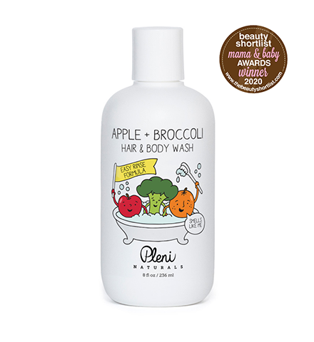 Organic apple + broccoli hair & body wash by Pleni Naturals.