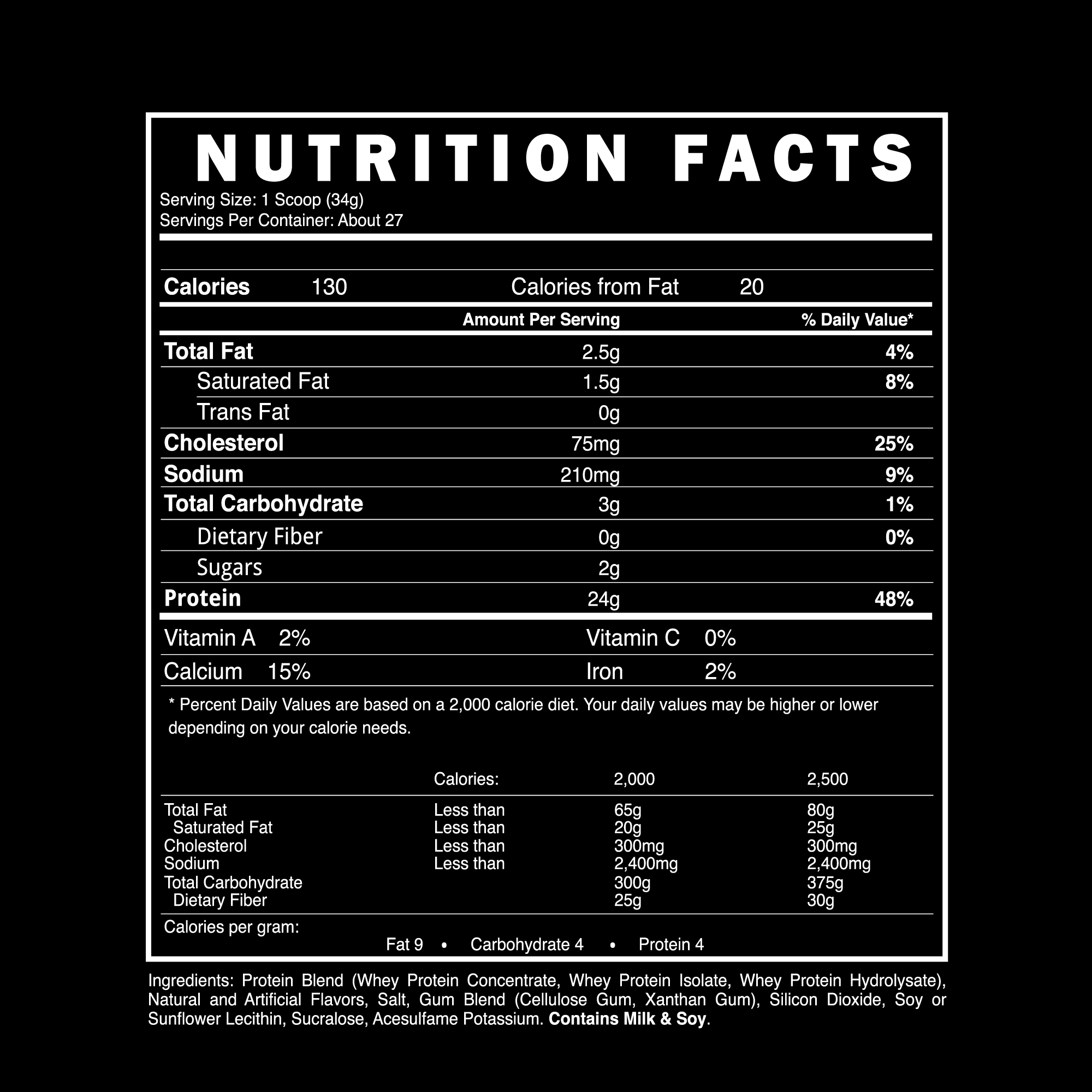 3-Whey | Whey Protein Blend | Blackstone Labs | Supplement Facts Panel